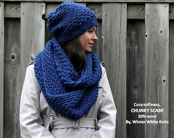 chunky infinity scarf,  hand knit scarf, royal blue knit scarf, available in 16 colors, so soft and cozy, chunky scarf, winter scarf