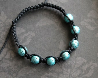 Adjustable Teal Braided Bracelet - Hypoallergenic
