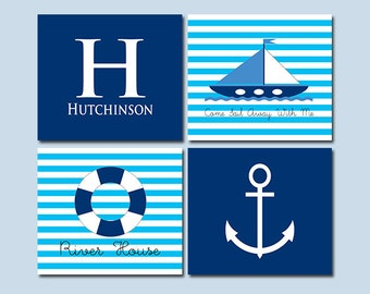 Come Sail Away With Me - Nautical Decor - Monogram Initial with Your Name - River House - Anchor - Personalized Set of Four Prints