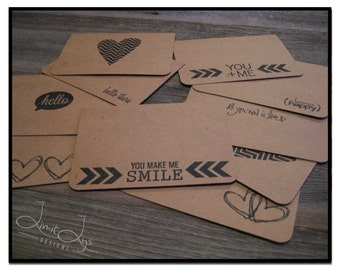Love Note Cards / Heart Note / You Make Me Smile / Romantic Card / Valentine / Anniversary / Stamped Kraft / Envelopes / set of 10