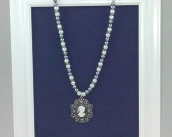 "Handmade 24"" Gray and White Pearl Necklace with Cameo Pendant"