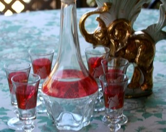 Vintage 1980's  Glass 7-Piece Decanter Wine Liquor Set