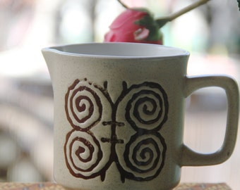 Vintage Retro Ceramic Made in Japan Jug Beige Geometric Butterfly design