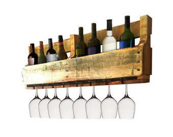 Pallet Wine Rack - Wine Glass Holder - Pallet Wine Bar - Wall Organizer for Wine Glasses and Bottles