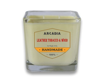Leather, Tobacco & Wood Candles, Scented soy candles, hand poured soy candles, Double wick candles