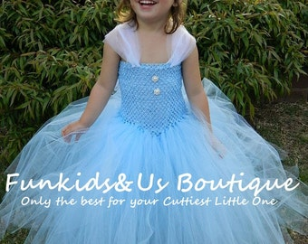 Light Blue Color  Princess Gown Tutu Dress- Cinderella V- style Dress -Birthday, special Occasion