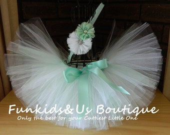 Mint Green and white tutu set-Christmas tutu set, Matching Headband - Smash cake photo shot- birthday- wedding