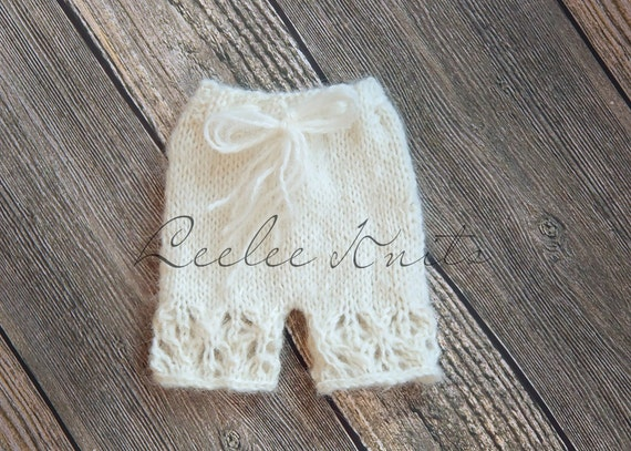 Pattern - Soft Lace Newborn Shorts Knitting Pattern/ Newborn Bloomers Knitting Pattern