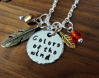 Colors of the wind necklace-Pocahontas inspired Jewelry-Handstamped-Colors of the Wind-Feather Necklace-Easter gifts