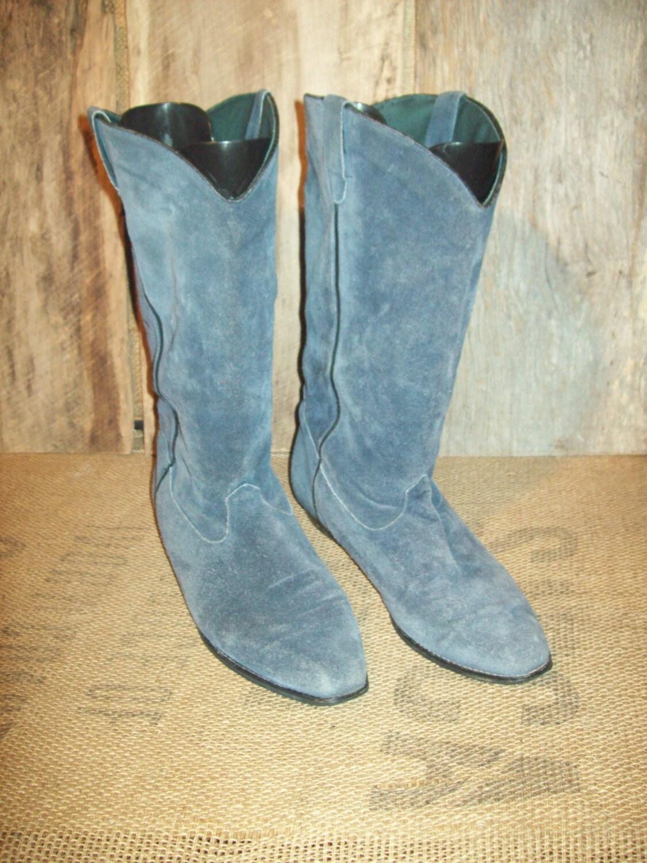 vintage blue suede mens cowboy boots size 12 m by