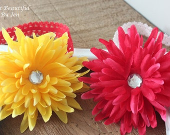 "Yellow and Pink Flowered 5"" Headbands"