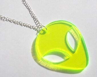 Large Neon alien head statement necklace