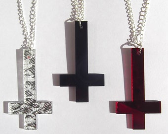 Inverted cross necklace in black red or silver