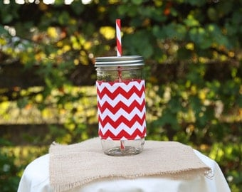 Mason Jar Tumbler 24oz | Red White Chevron | Crimson White Chevron | Unique Gifts | Gifts Under 25 | Canning Jar Tumbler | Free Monogram