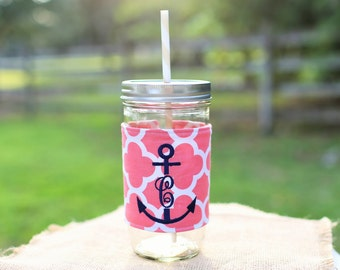 Mason Jar Tumbler 24 oz | Monogrammed Tumbler | Anchor | Nautical | Mason Jar Cup | Personalized Tumbler | Custom Mason Jar
