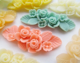 Mixed Colors Flatback 50mm Resin Flower Cabochon/Cameo Pendant Charm/Finding,Decoration Kit,fit Base Setting Tray ,DIY Accessory