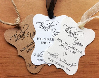 Personalised Wedding Favour Tags - Elegant Script - Thank You - Scriptina