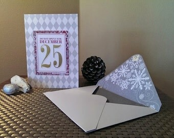 Modern Christmas Card with handmade envelope