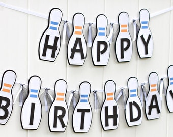 Bowling Happy Birthday Banner - Bowling Party Banner - Bowling Banner - Bowling Theme Decorations