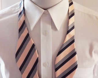 Mens Bowtie Peach,Silver And Black Stripe Self Tie Bow Tie