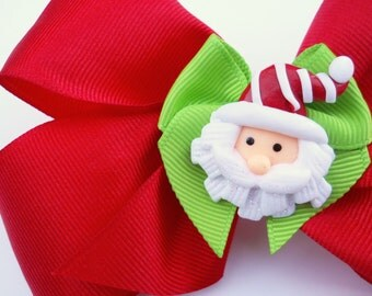 Santa Hair Bow - Red and Green Hair Bow - Christmas Hair Bow - Holiday Hair Bow - Girls Hair Bow - Toddler Hair Bow - Hair Accessory - Party