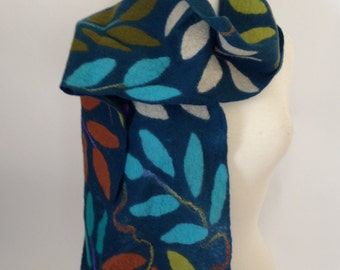 Dark Teal soft merino wool felted scarf, leaves of cream, turquoise, olive, spring green, rust and purple
