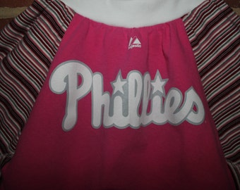 Upcycled Phillies Baseball Twirl-y Tshirt Skirt, Girls size 8 / 10 / 12