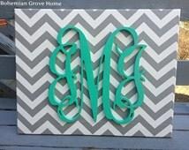 CHOOSE YOUR COLORS! Mint Wooden Script Monogram on Gray White Chevron, Vine Monogram, 3 Letter Nursery or Wedding Monogram, Fall Wall Decor