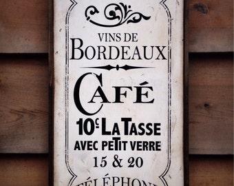Vintage wooden sign 'Bistrot de Paris'