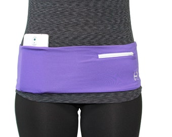 Purple w/ White Fanny Pack/ Stretchy Waist Pack/ Hip Belt Purple