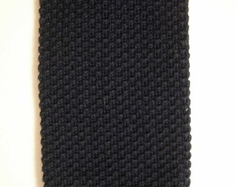 Hunting Horn men's rockabilly navy blue square knit neck tie