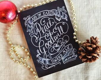 Christmas Card - Luke 2:14 - Christmas Card Set - Holiday Card - Chalkboard Art -  Peace on Earth - Chalk Art