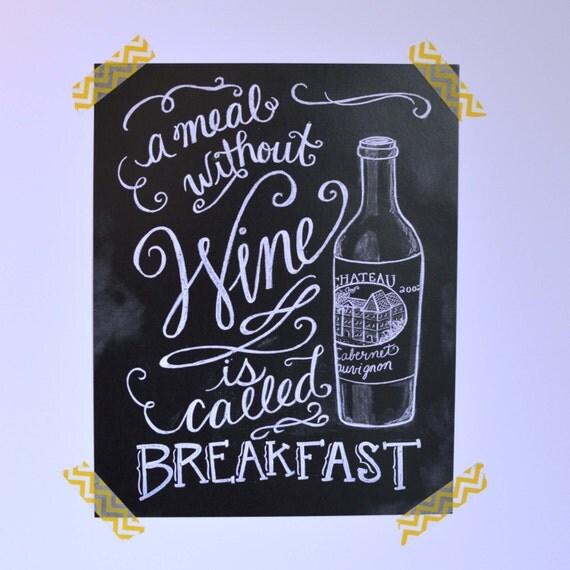 Wine lover 39 s print kitchen chalkboard bar decor for Wine chalkboard art