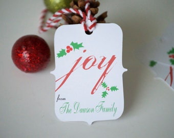 Personalized gift tags, Christmas gift tags, custom tags, holiday paper goods, Christmas tags, holiday tags - 15 count