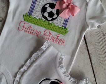 Soccer Ball and Goal Personalized Baby Boy or Girl Onesie Bib Gift Set