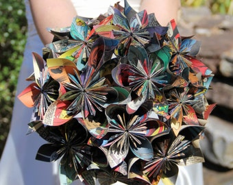 Kusudama bouquet, Comic book bouquet, Alternative Bouquet, Origami bouquet, Wedding bouquet, Paper bouquet, Weddings, Geek, Nerd