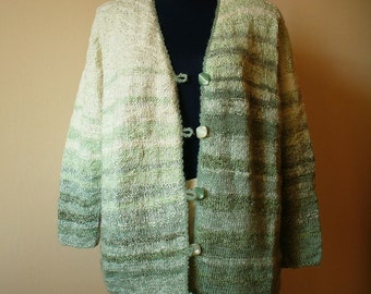 One of a kind Hand Knit Women's Cardigan in White and Sage green/ Handmade Cardigan/ Sage green Jumper/ Hand knit Jumper