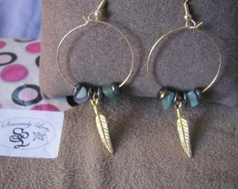 Gold FeatherGreen and Black Bead Hoop Earrings