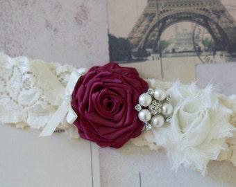 VICTORIA: Wine Wedding Garter. Ivory Lace Garter. Winter Wedding. Autumn Wedding. Fairytale Wedding.