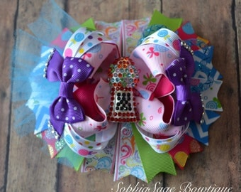 Candyland Hair Bow, Over the Top, Extra Large, OTT, Birthday Party, Gumball,