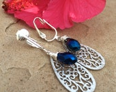 Beautiful Handmade Clip-on Antique Asian and Blue Crystal Earrings