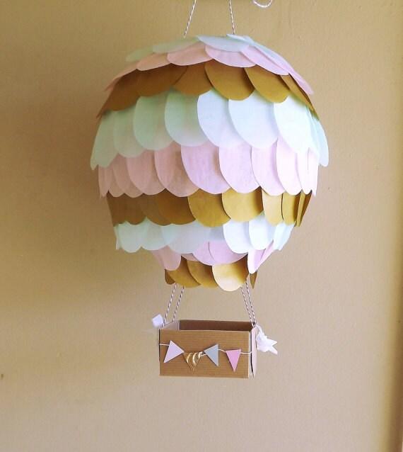 Pink Mint And Gold Nursery: Metallic Gold, Light Pink And Mint Hot Air Balloon Lantern