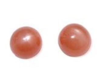 Moonstone Orange Set of 2 Round Cabochon Loose Gemstones Cut 1A Quality 6mm TGW 1.60 cts.