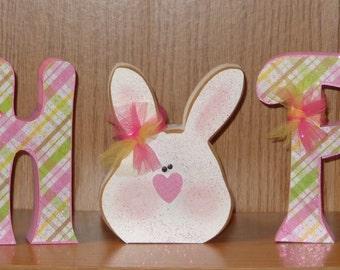 Easter Decor, Spring Decor, Bunny, Chunky Letters Hop