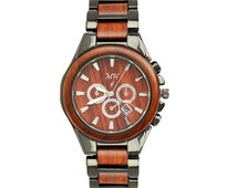Men's Wooden Watch Rosewood Black-Tone Date Quartz Handmade Wood Watch W9004GB1