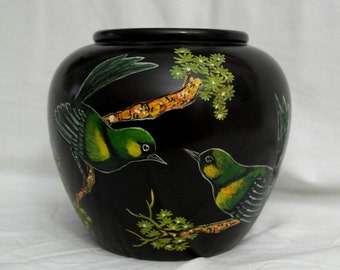 Wooden vase with hand painted  green birds