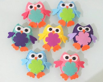 Colorful felt filled owl magnet or ornament (with tracking number)