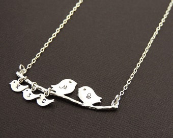 Personalized Mother's Necklace. Silver Bird Family Necklace. Baby Birds. Family Initial Necklace. Family Bird. Grandma Mom Gift