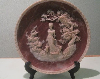 Original Paperwork 1977 INCOLAY Stone Cameo Plate BYRON She Walks in Beauty Romantic Poets Appleby  with Original Paperwork!