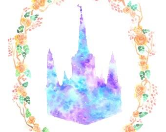 LDS Portland Temple watercolor
